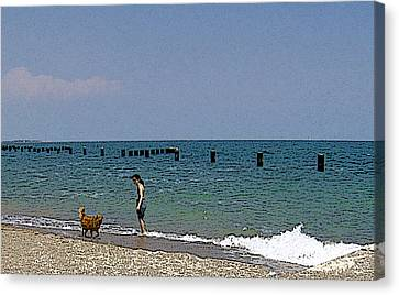 Canvas Print featuring the photograph A Fun Day At The Beach by Skyler Tipton