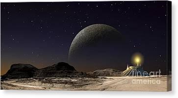 A Futuristic Space Scene Inspired Canvas Print by Frank Hettick