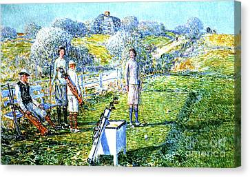 A Game Of Golf, 1923 Canvas Print by Childe Hassam
