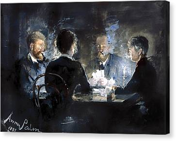 A Game Of L'hombre In Brodum Hotel Canvas Print by Mountain Dreams