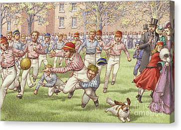 A Game Of Rugby Football Being Played At Rugby School Canvas Print by Pat Nicolle