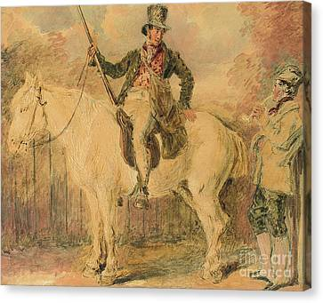 A Gamekeeper On A Horse And Another Man Conversing Canvas Print by William Henry Hunt
