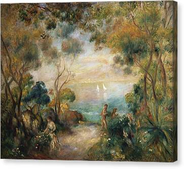 Picking Flowers Canvas Print - A Garden In Sorrento by Pierre Auguste Renoir