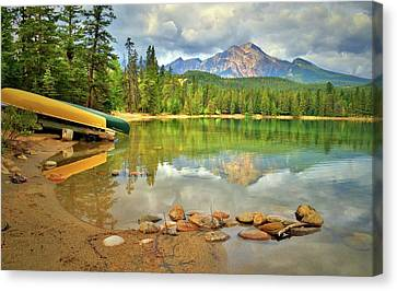 Canvas Print featuring the photograph A Gentle Light At Lake Annette by Tara Turner