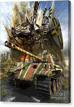 A German Panzer V Medium Tank Canvas Print by Kurt Miller