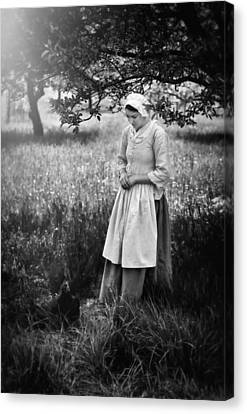 A Girl And Her Chicken Canvas Print by Eduard Moldoveanu