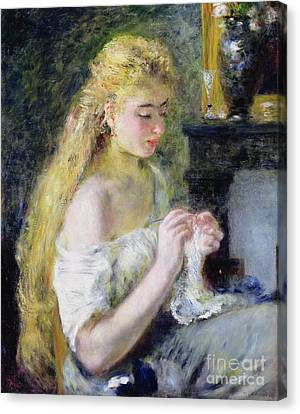 A Girl Crocheting Canvas Print by Pierre Auguste Renoir