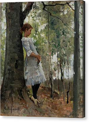 A Girl In The Lush Forest Canvas Print by MotionAge Designs