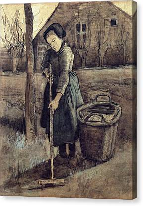 A Girl Raking, 1881 Canvas Print by Vincent Van Gogh