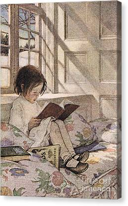 Reading A Book Canvas Print - A Girl Reading by Jessie Willcox Smith