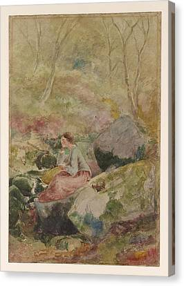 A Girl Seated On Rocks In A Wood Canvas Print by MotionAge Designs