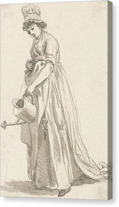 A Girl With A Watering Can Facing Left Canvas Print by Paul Sandby