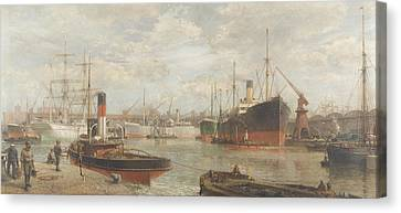 A Glimpse In 1920 Of The Royal Edward Dock, Avonmouth Canvas Print by Arthur Wilde Parsons