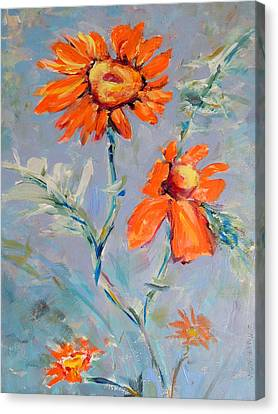 Canvas Print featuring the painting A Glow by Mary Schiros