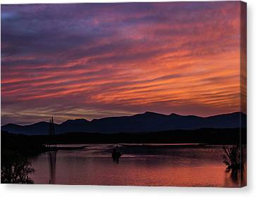 A Glowing Sunset Over The Catskill Mountains Canvas Print