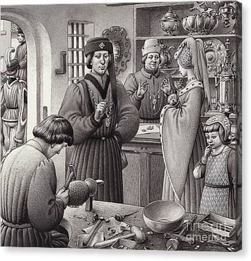 A Goldsmith's Shop In 15th Century Italy Canvas Print by Pat Nicolle