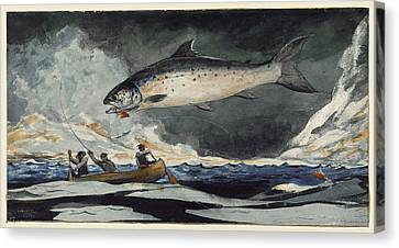 Canvas Print featuring the painting A Good Pool. Saguenay River by Winslow Homer