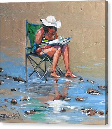 Beach Scenes Canvas Print - A Good Read by Laura Lee Zanghetti