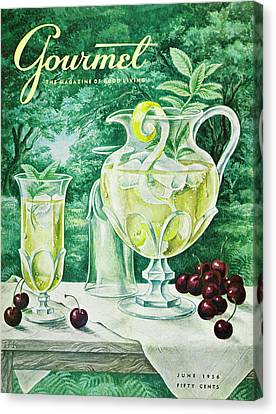 Old Pitcher Canvas Print - A Gourmet Cover Of Glassware by Hilary Knight