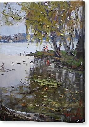 Rainy Day Canvas Print - A Gray Rainy Day At Fishermans Park by Ylli Haruni