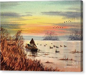 Canvas Print featuring the painting A Great Day For Duck Hunting by Bill Holkham