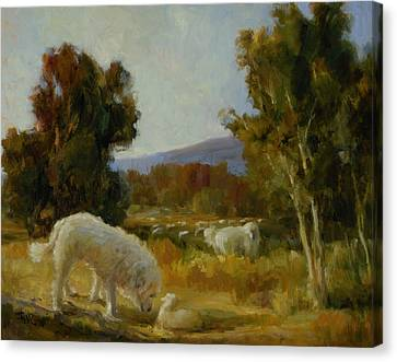 A Great Pyrenees With A Lamb Canvas Print by Lilli Pell