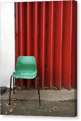 A Green Chair Canvas Print by Tom Gowanlock