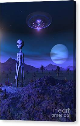 A Grey Alien Located On Its Homeworld Canvas Print