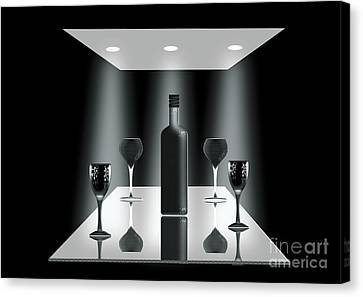 Glass Table Reflection Canvas Print - A Group Of Frends by Peter McHallam