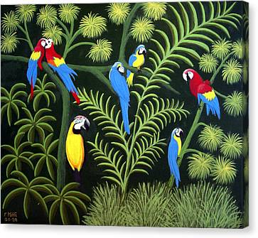 Canvas Print featuring the painting A Group Of Macaws by Frederic Kohli