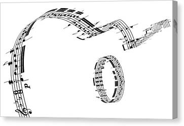 A Guitar Made Of Music Notes Canvas Print by Ian McKinnell