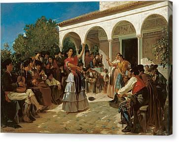 A Gypsy Dance In The Gardens Canvas Print by Alfred Dehodencq