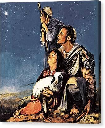 Nativity Canvas Print - A Happy Christmas by JM Watt