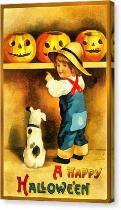 A Happy Halloween Puppy Canvas Print