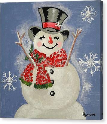 A Happy Snowman Canvas Print