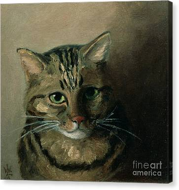 A Head Study Of A Tabby Cat Canvas Print by Louis Wain
