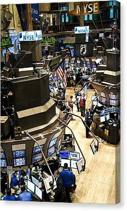 A High Angle View Of The New York Stock Canvas Print by Justin Guariglia