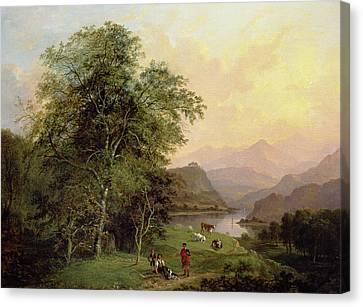 A Highland Lochside, 1847 Canvas Print by Jane Nasmyth