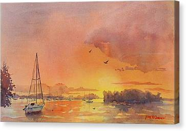 A Hingham Sunset Canvas Print by Laura Lee Zanghetti