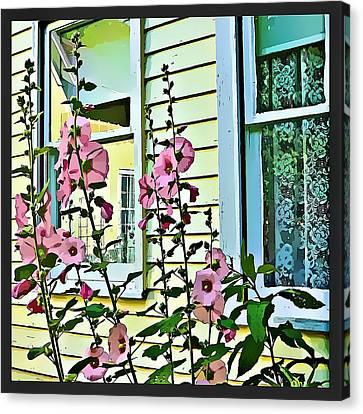 A Holly Hocks Morning Canvas Print