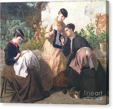 A Honiton Lace Manufactory Canvas Print by Frederick Richard Pickersgill