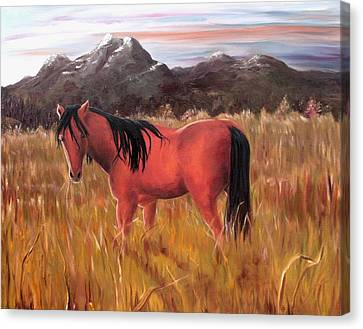 Canvas Print featuring the painting A Horse Of Course by Diane Daigle