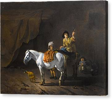 Roemer Canvas Print - A Horseman Holding A Roemer Of Wine With An Ostler Tending The Horses by Karel Dujardin