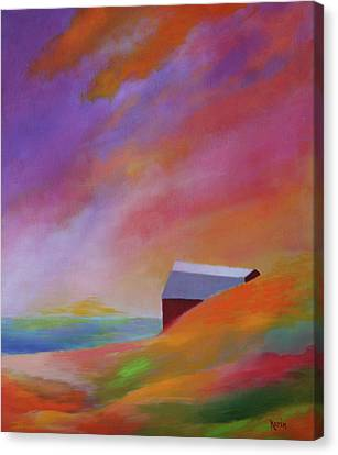 Canvas Print featuring the painting A Hot Day In Michigan by Karin Eisermann