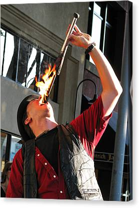 Pyrotechnic Canvas Print - A Hot Meal -- Fire Eater In San Luis Obispo, California by Darin Volpe