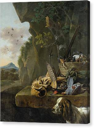A Hunting Still Life With A Bittern And A Dog In A Landscape Canvas Print by Jan Weenix
