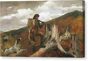 Canvas Print featuring the painting A Huntsman And Dogs - 1891 by Winslow Homer