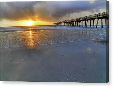 A Jacksonville Beach Sunrise - Florida - Ocean - Pier  Canvas Print by Jason Politte