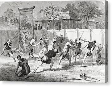 A Japanese Fencing School In The 19th Canvas Print