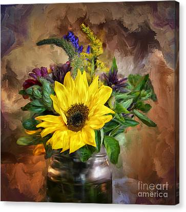 A Jar Of Wildflowers Canvas Print by Lois Bryan